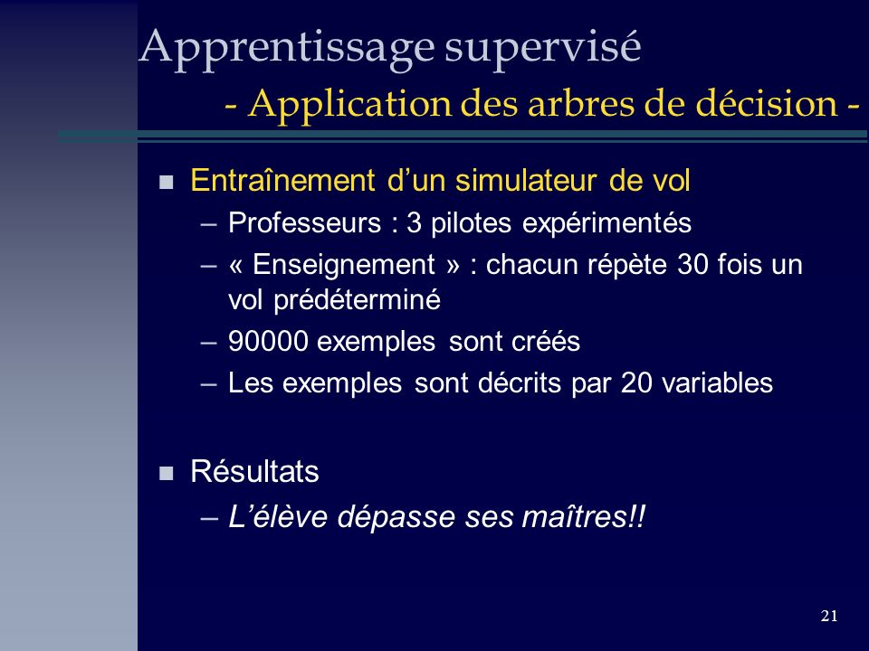 Apprentissage supervisé - Application des arbres de décision -