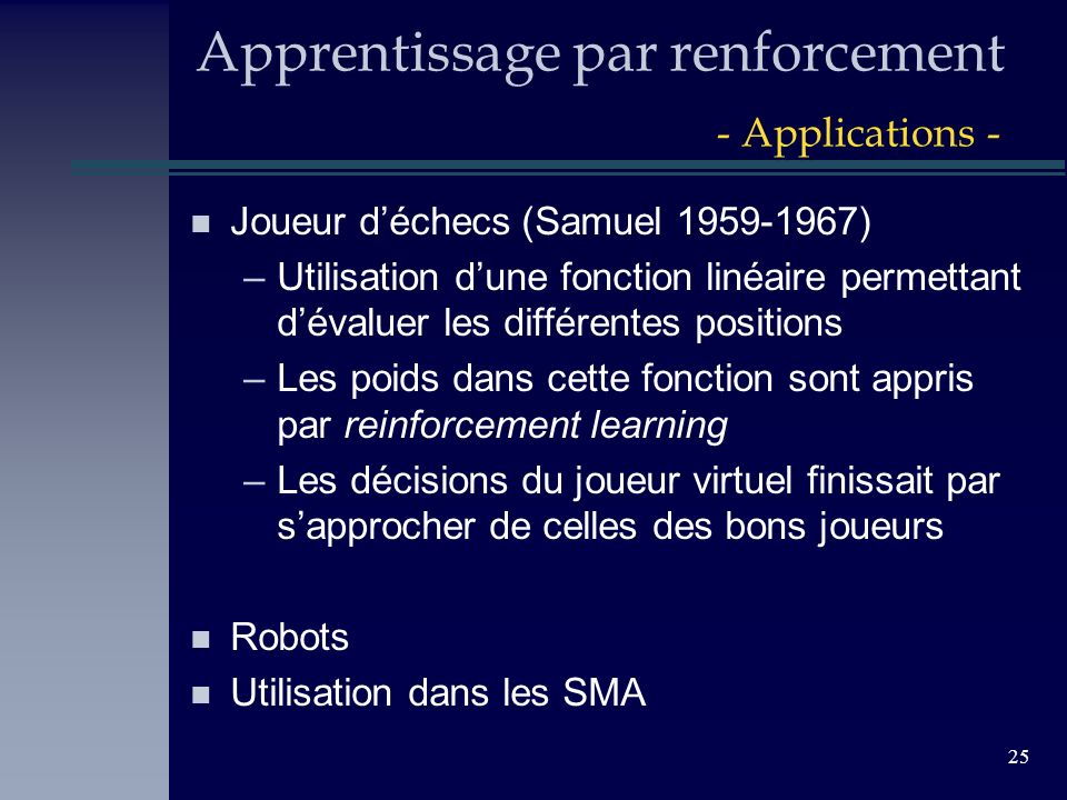 Apprentissage par renforcement - Applications -