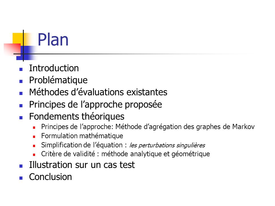 Plan Introduction Problématique Méthodes d'évaluations existantes