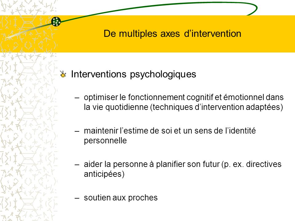De multiples axes d'intervention