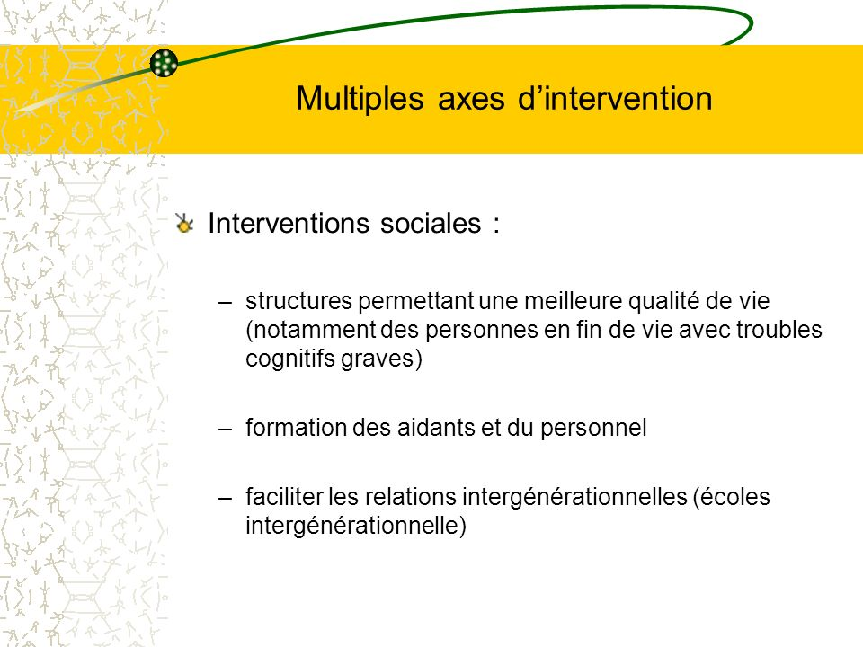 Multiples axes d'intervention