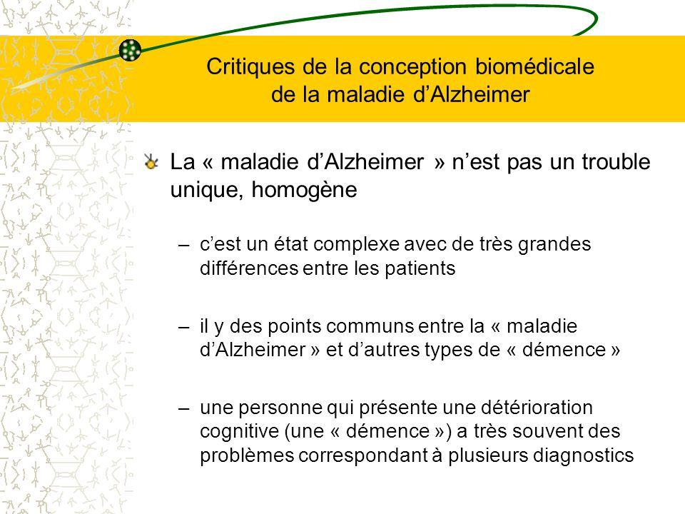 Critiques de la conception biomédicale de la maladie d'Alzheimer