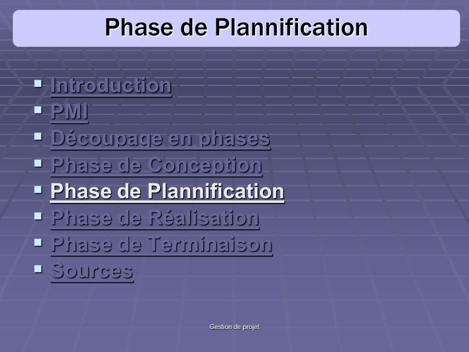Phase de Plannification