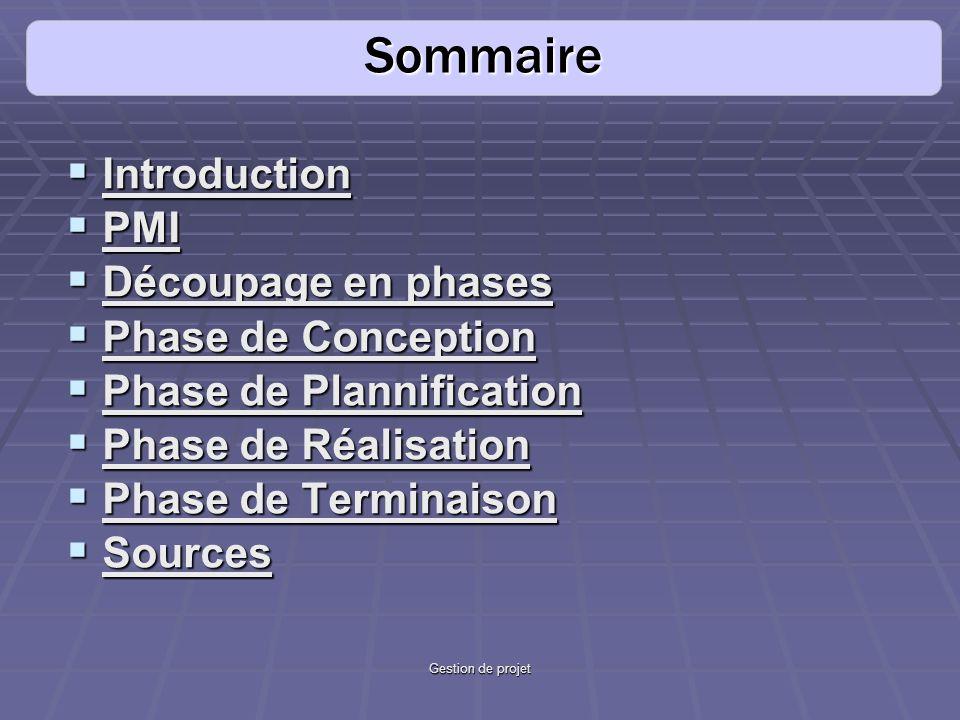 Sommaire Introduction PMI Découpage en phases Phase de Conception