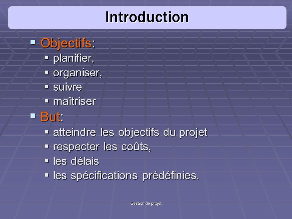Introduction Objectifs: But: planifier, organiser, suivre maîtriser