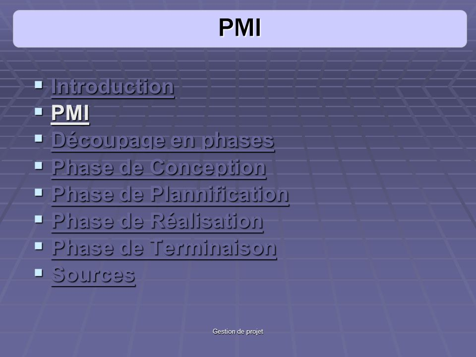 PMI Introduction PMI Découpage en phases Phase de Conception