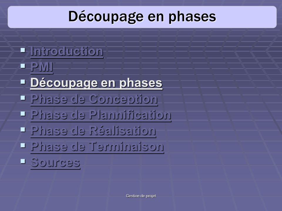 Découpage en phases Introduction PMI Découpage en phases