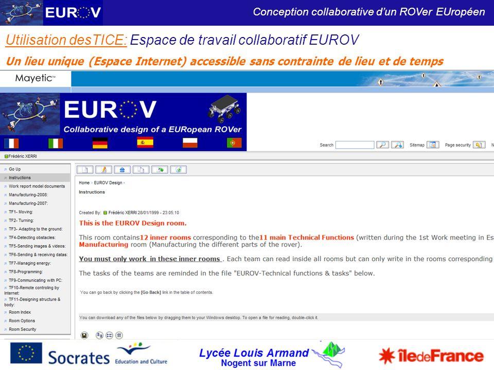Utilisation desTICE: Espace de travail collaboratif EUROV