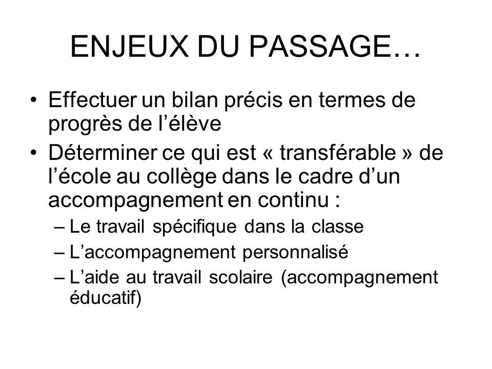 ENJEUX DU PASSAGE… Effectuer un bilan précis en termes de progrès de l'élève.