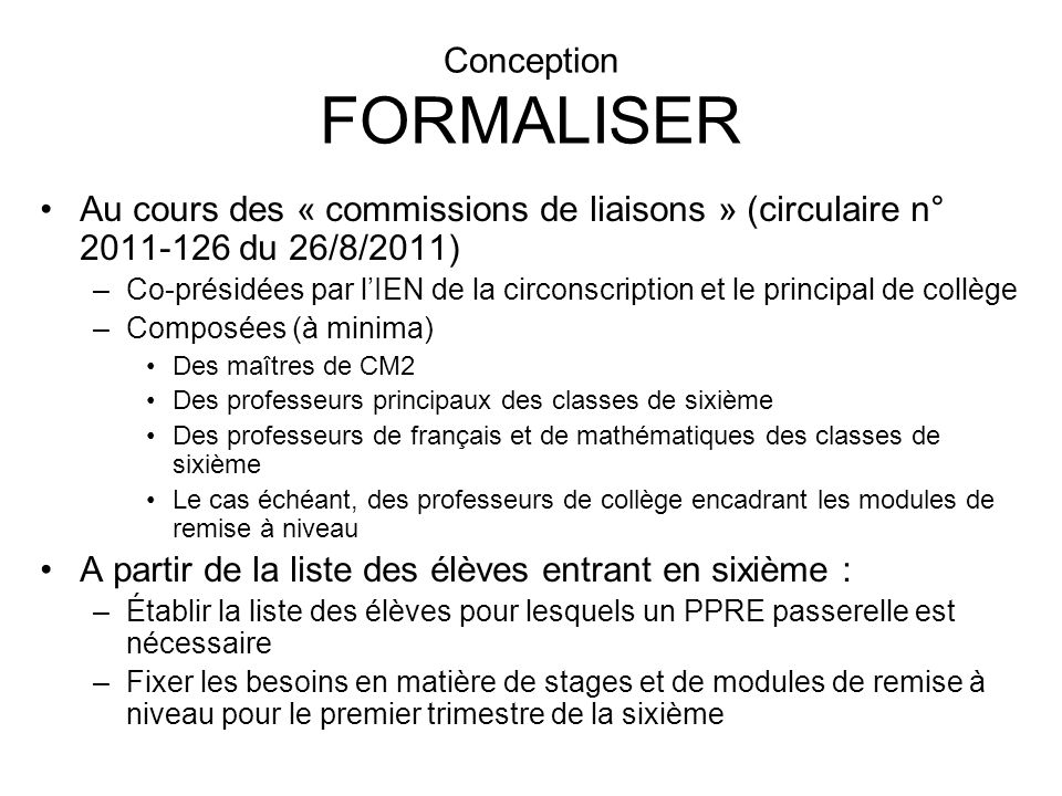 Conception FORMALISER