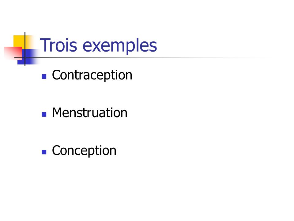 Trois exemples Contraception Menstruation Conception