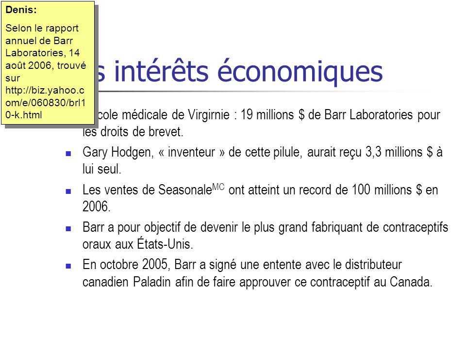 Les intérêts économiques