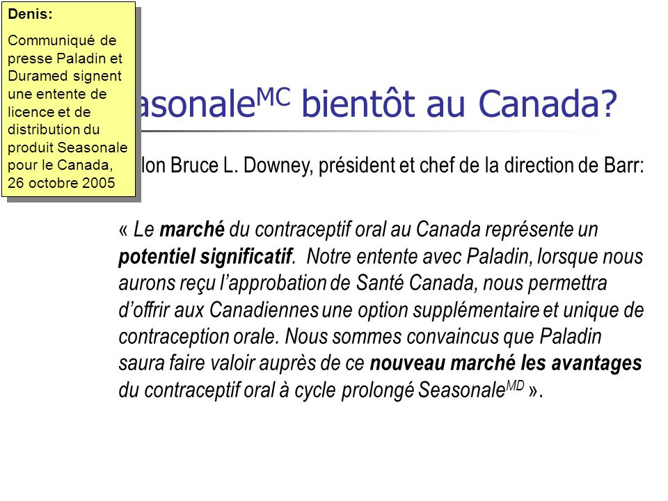 SeasonaleMC bientôt au Canada