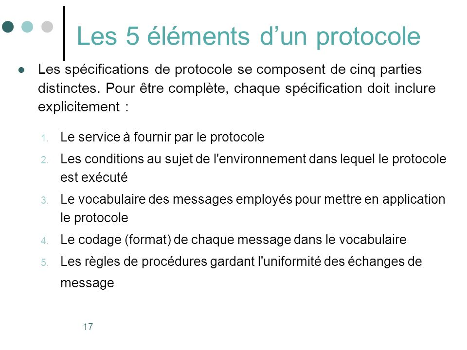 Les 5 éléments d'un protocole