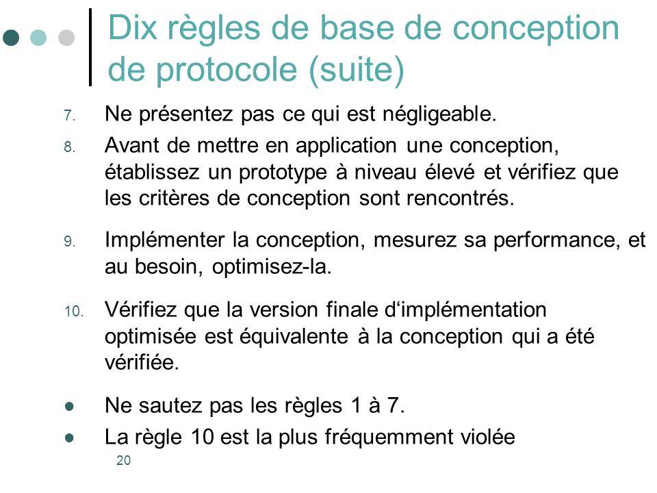 Dix règles de base de conception de protocole (suite)