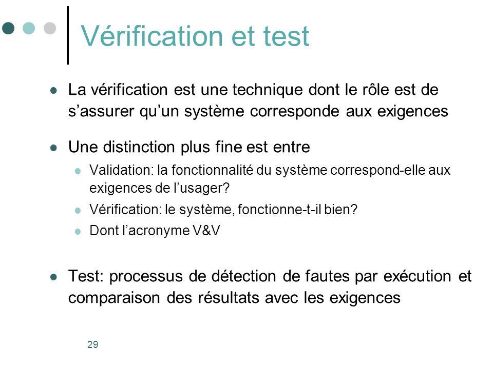 Vérification et test La vérification est une technique dont le rôle est de s'assurer qu'un système corresponde aux exigences.