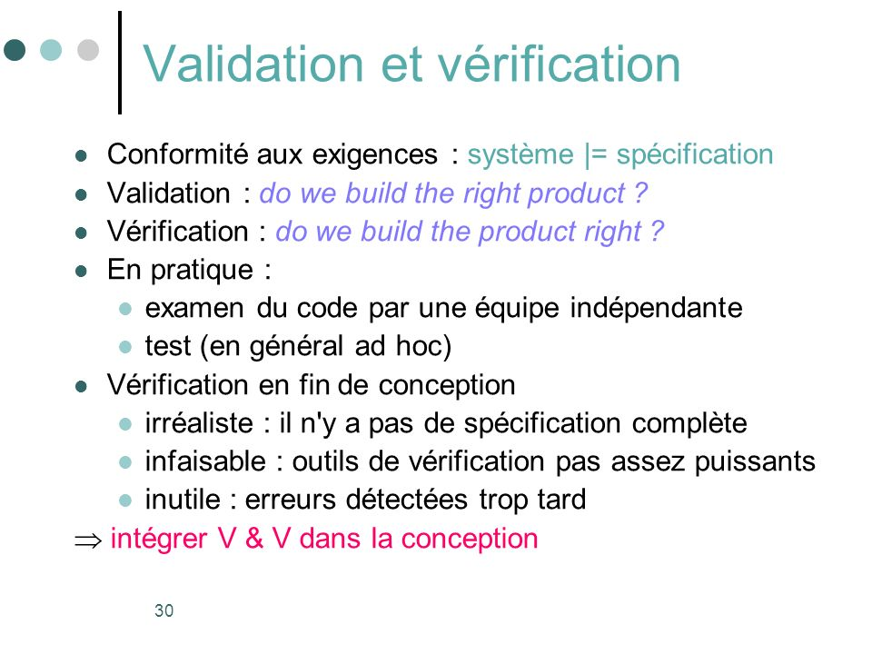 Validation et vérification