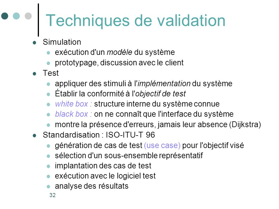 Techniques de validation