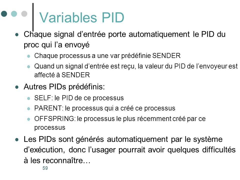 Variables PID Chaque signal d'entrée porte automatiquement le PID du proc qui l'a envoyé. Chaque processus a une var prédéfinie SENDER.