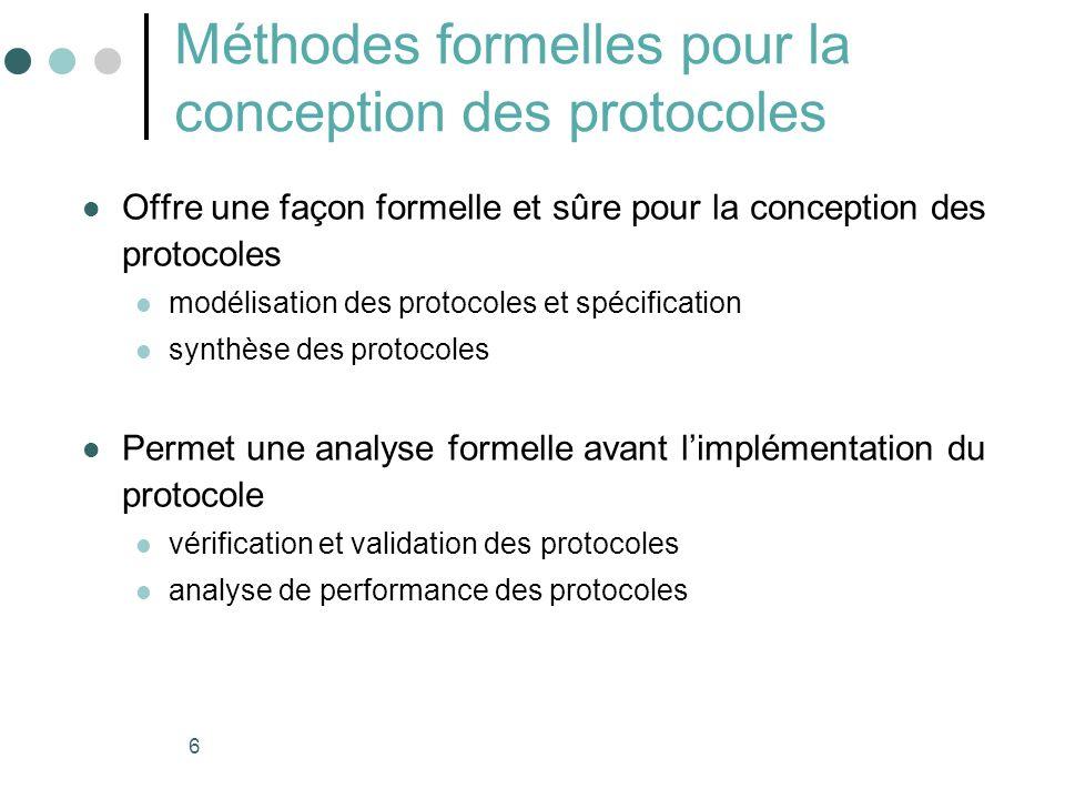 Méthodes formelles pour la conception des protocoles