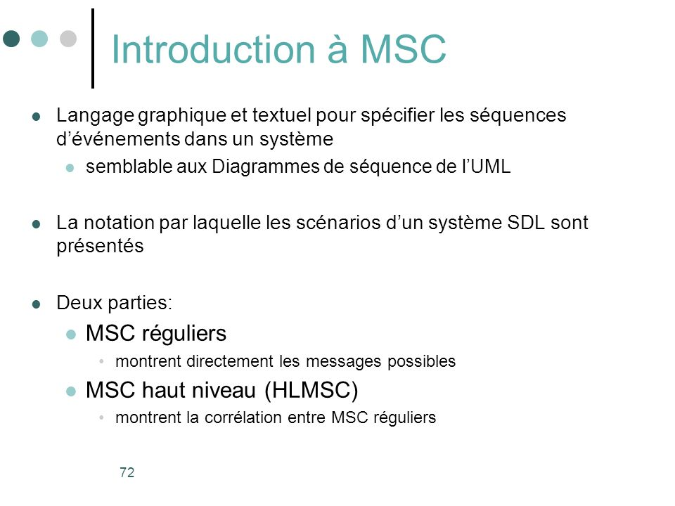 Introduction à MSC MSC réguliers MSC haut niveau (HLMSC)