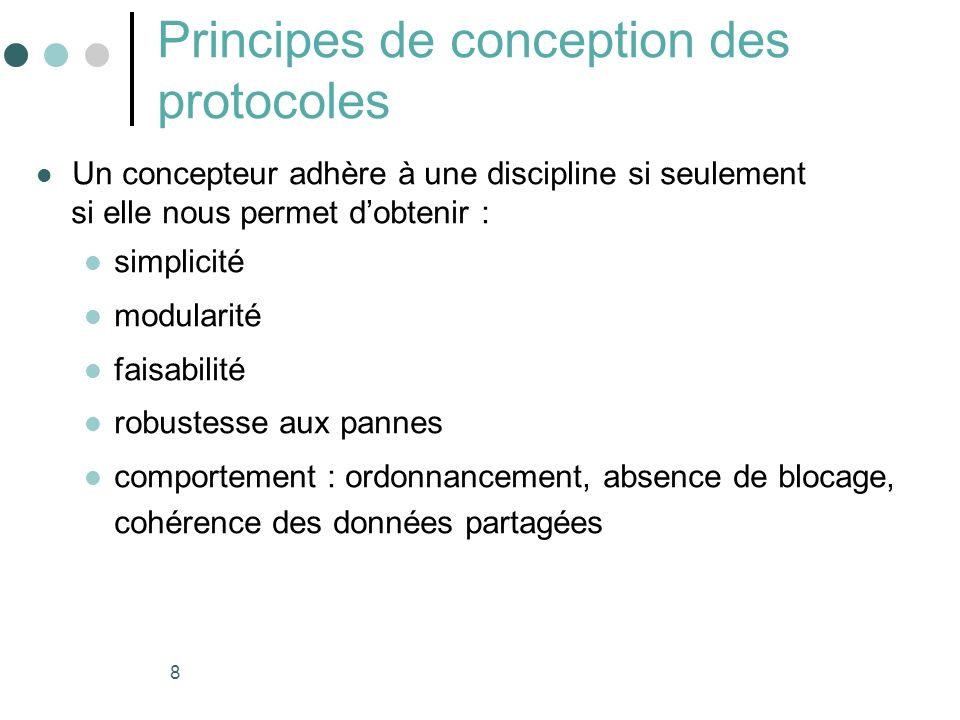 Principes de conception des protocoles
