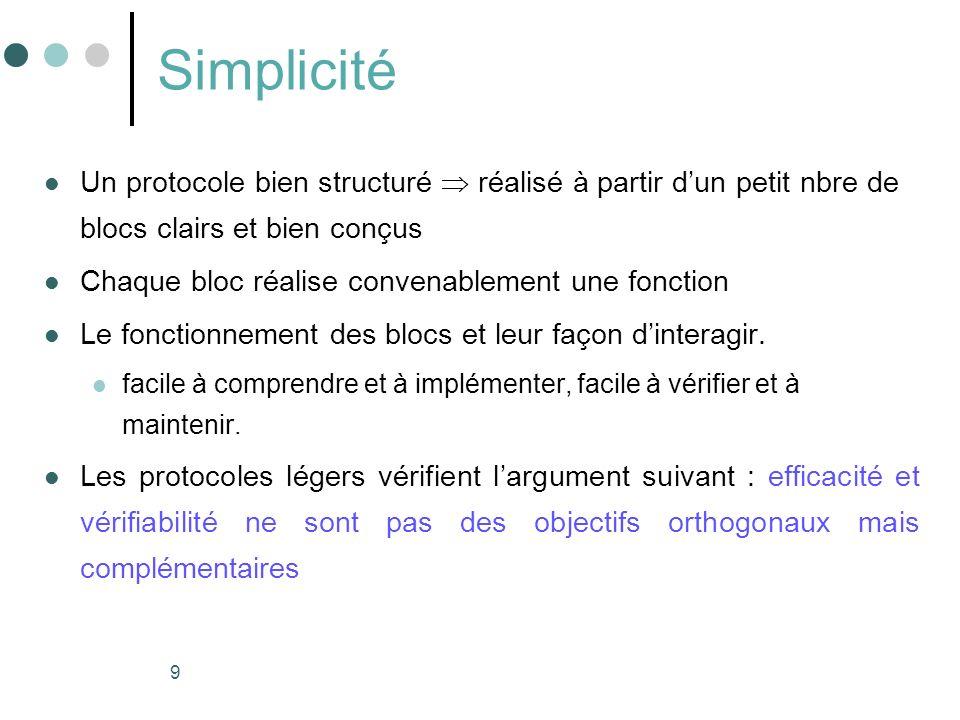 Simplicité Un protocole bien structuré  réalisé à partir d'un petit nbre de blocs clairs et bien conçus.