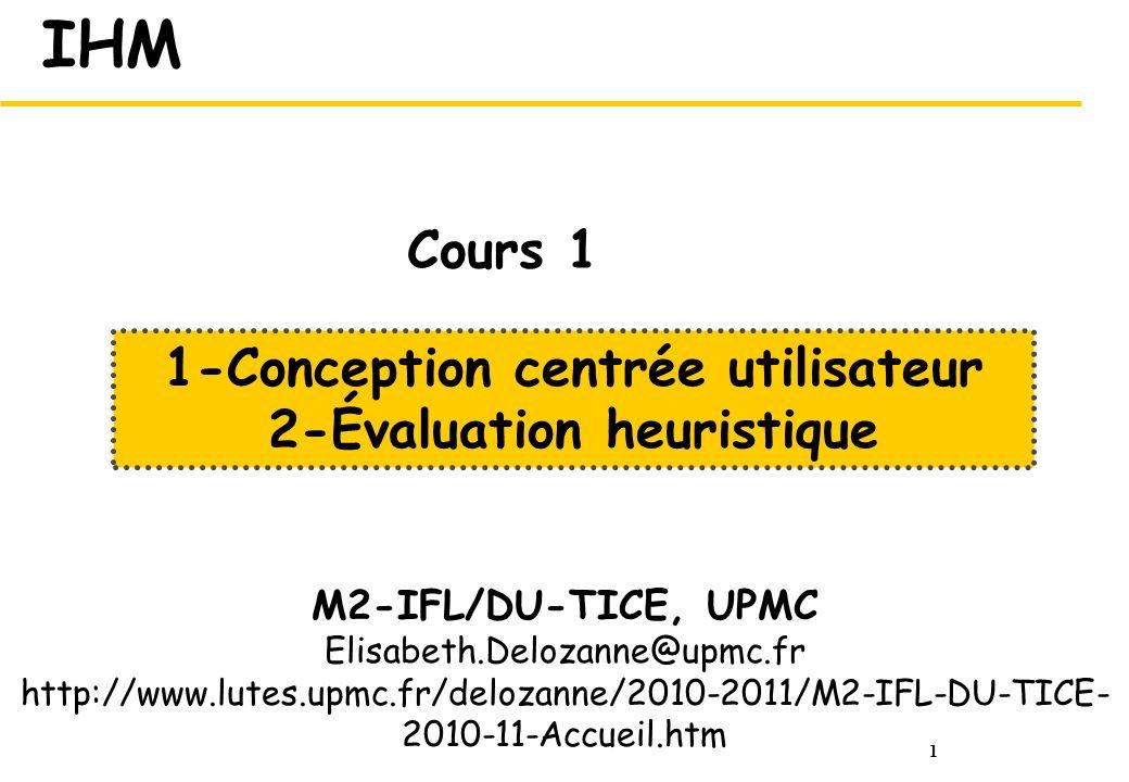 1-Conception centrée utilisateur 2-Évaluation heuristique