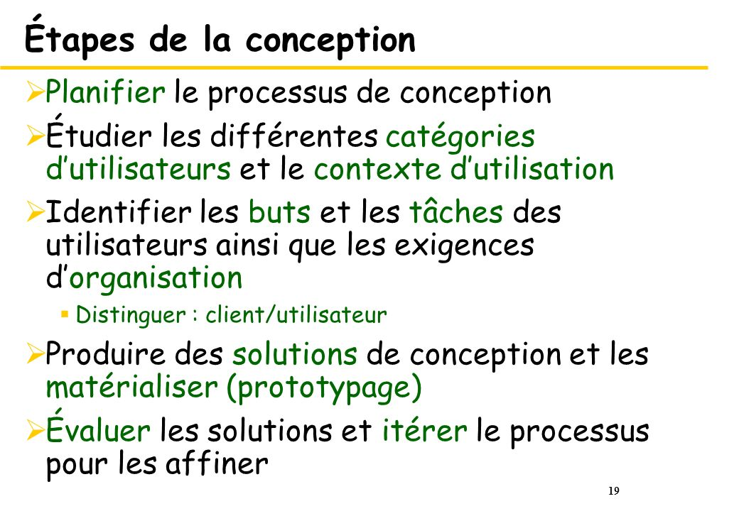 Étapes de la conception