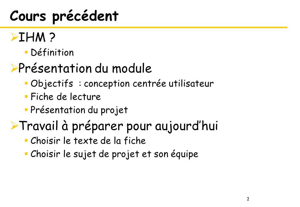 Cours précédent IHM Présentation du module