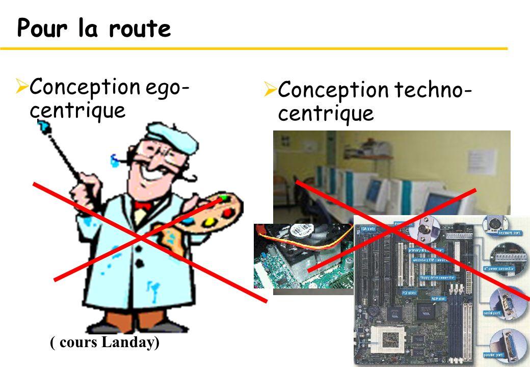 Pour la route Conception ego-centrique Conception techno-centrique