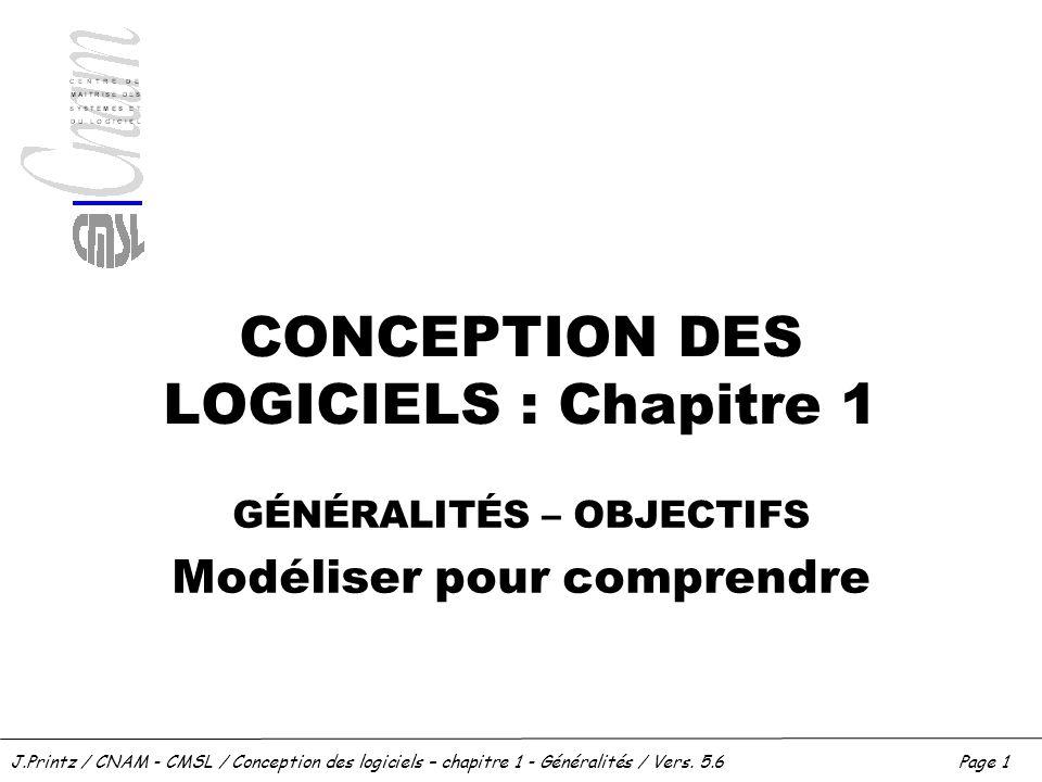 CONCEPTION DES LOGICIELS : Chapitre 1