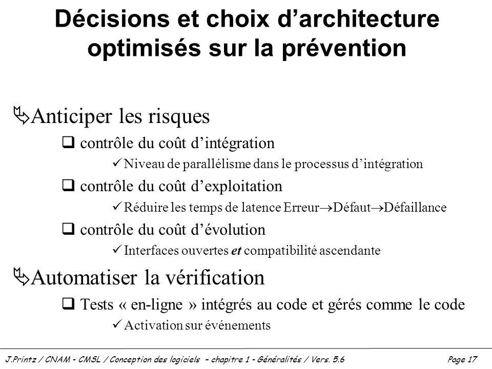 Décisions et choix d'architecture optimisés sur la prévention