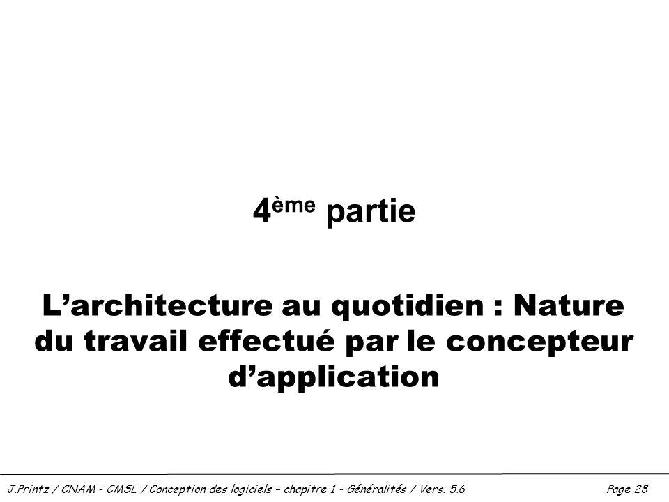 4ème partie L'architecture au quotidien : Nature du travail effectué par le concepteur d'application.