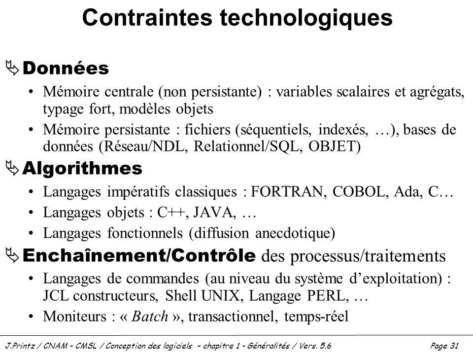 Contraintes technologiques