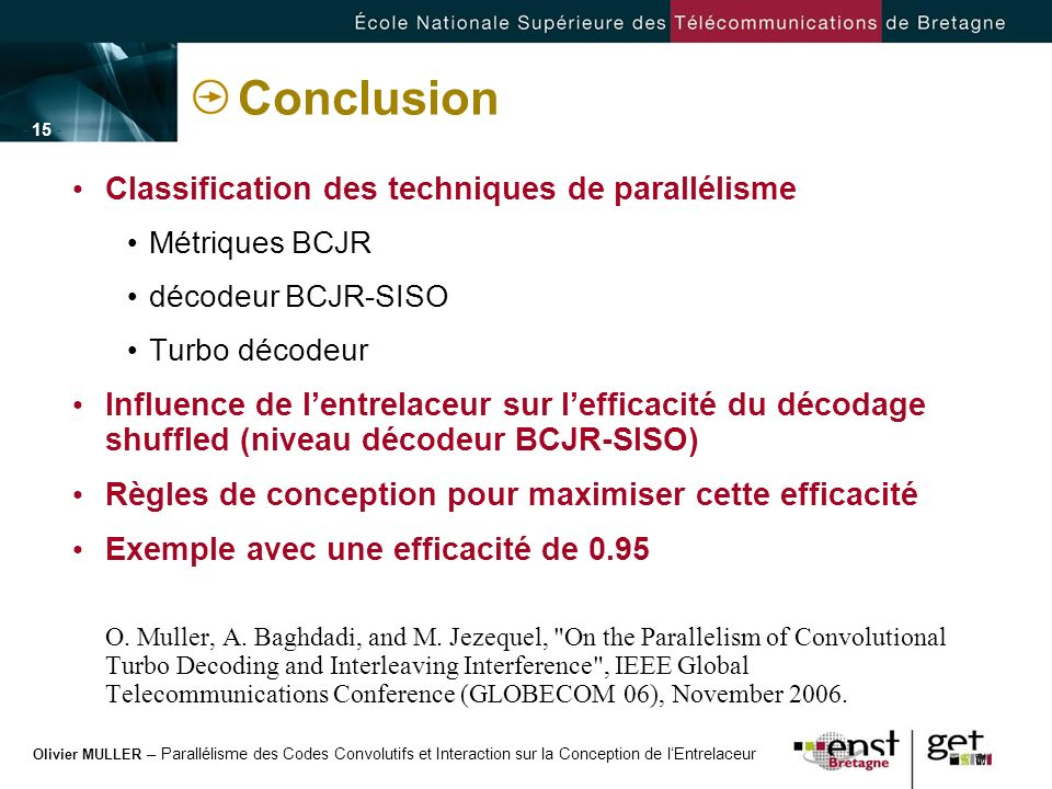 Conclusion Classification des techniques de parallélisme