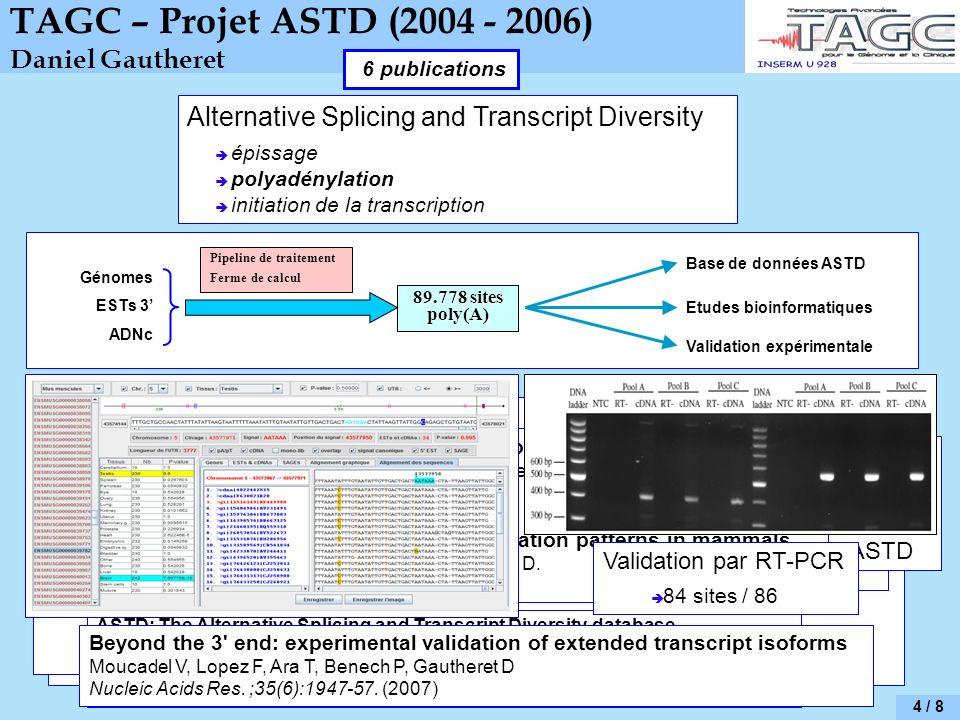 TAGC – Projet ASTD (2004 - 2006) Daniel Gautheret