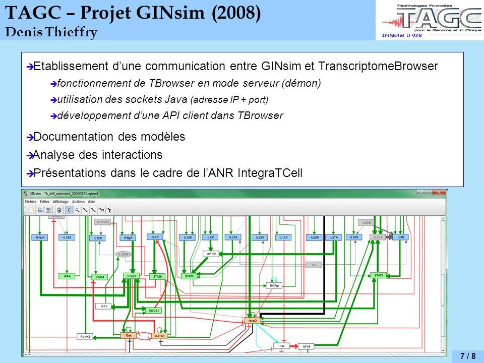TAGC – Projet GINsim (2008) Denis Thieffry