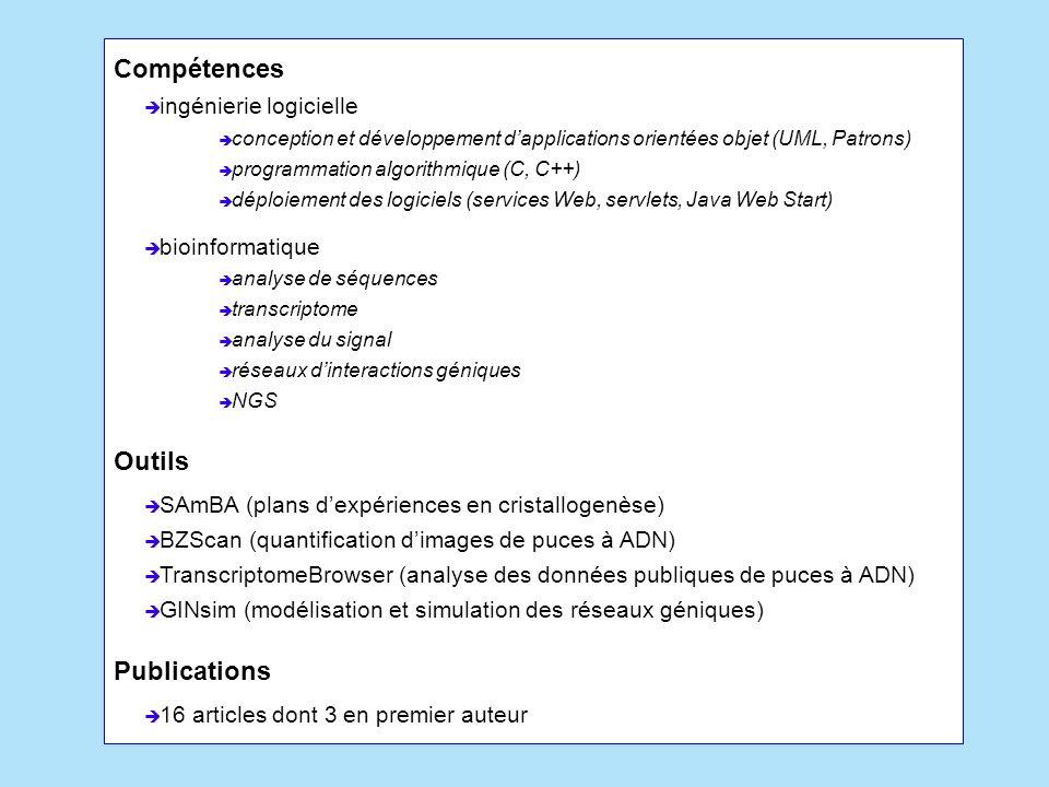 Compétences Outils Publications ingénierie logicielle bioinformatique