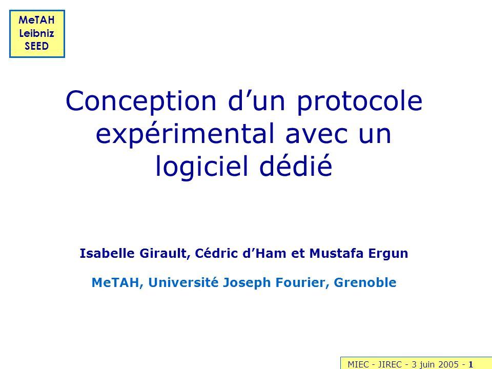Conception d'un protocole expérimental avec un logiciel dédié