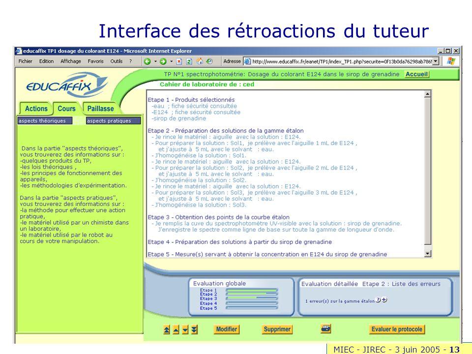 Interface des rétroactions du tuteur