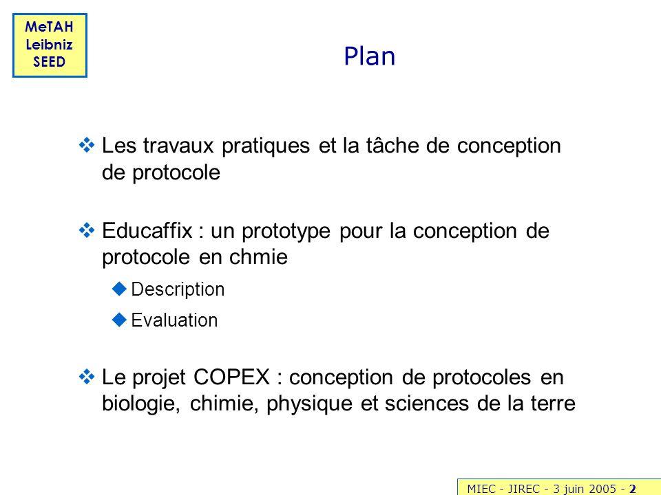 Plan Les travaux pratiques et la tâche de conception de protocole