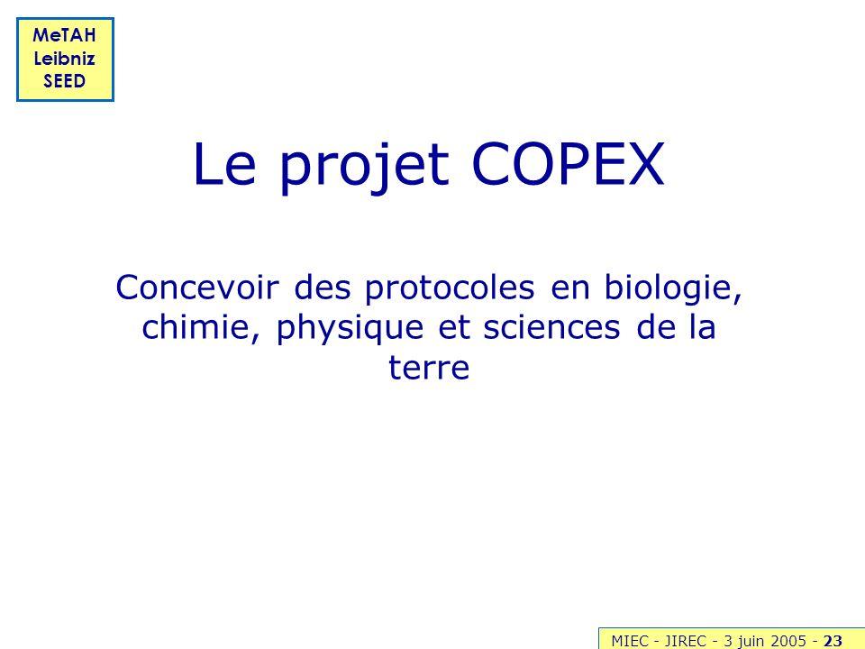 Le projet COPEX Concevoir des protocoles en biologie, chimie, physique et sciences de la terre