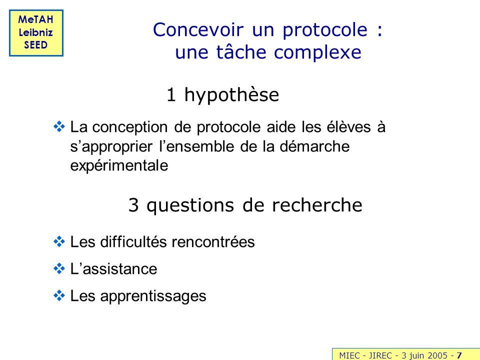 Concevoir un protocole : une tâche complexe