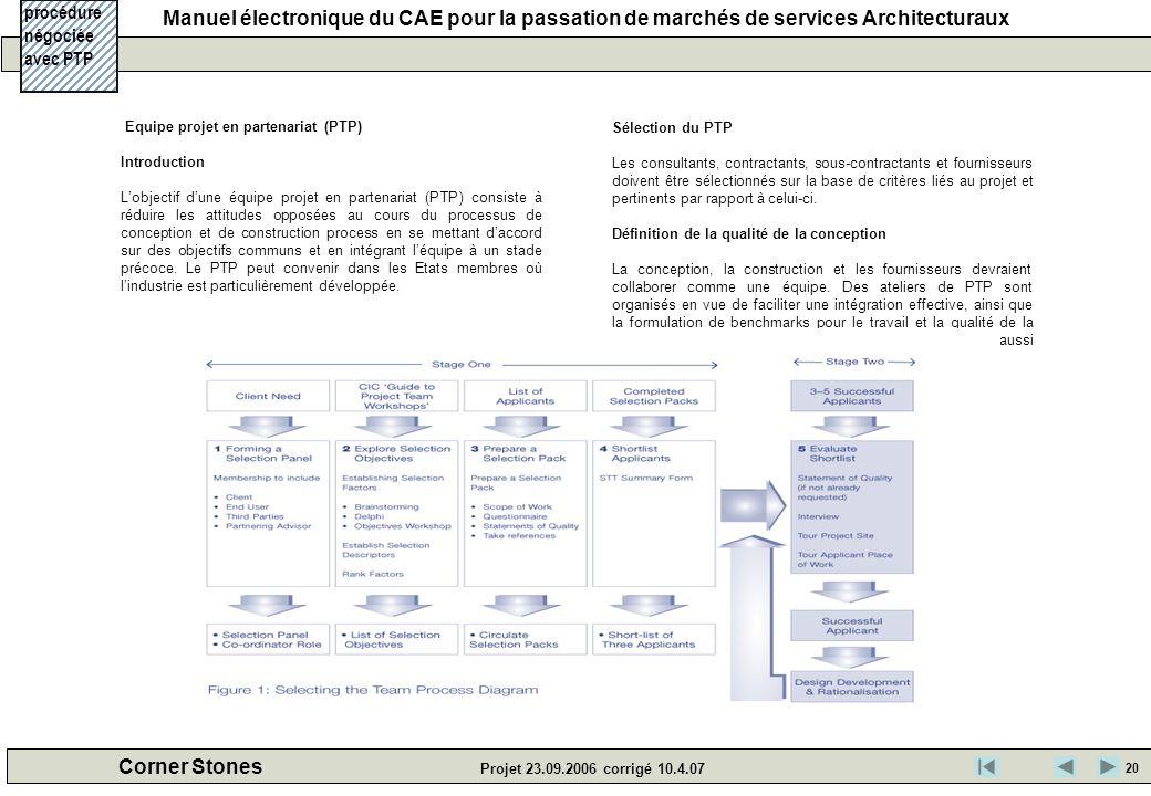 procédure négociée avec PTP Sélection du PTP