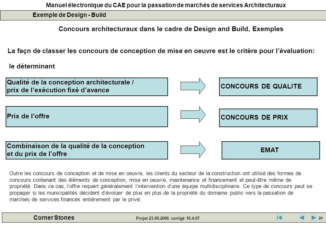 Concours architecturaux dans le cadre de Design and Build, Exemples