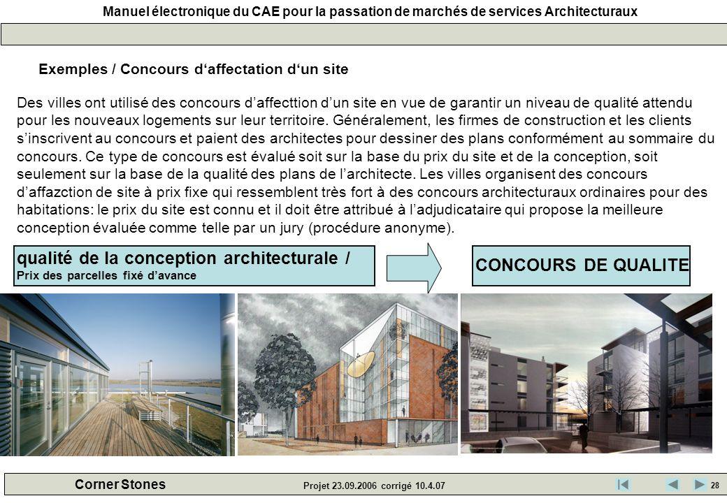 qualité de la conception architecturale / CONCOURS DE QUALITE