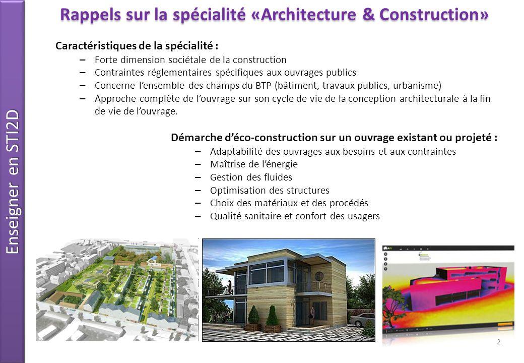 Rappels sur la spécialité «Architecture & Construction»