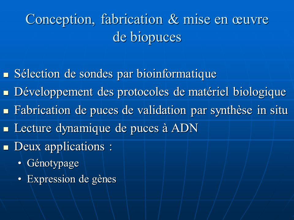 Conception, fabrication & mise en œuvre de biopuces