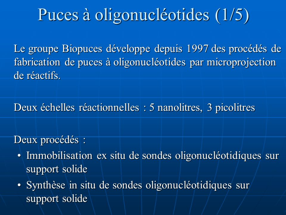 Puces à oligonucléotides (1/5)